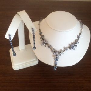 Blue rhinestone earrings and matching necklace set